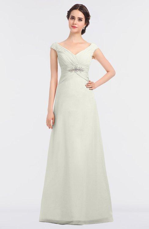 ColsBM Nadia Cream Elegant A-line Short Sleeve Zip up Floor Length Beaded Bridesmaid Dresses