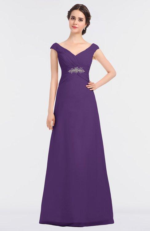 ColsBM Nadia Dark Purple Elegant A-line Short Sleeve Zip up Floor Length Beaded Bridesmaid Dresses