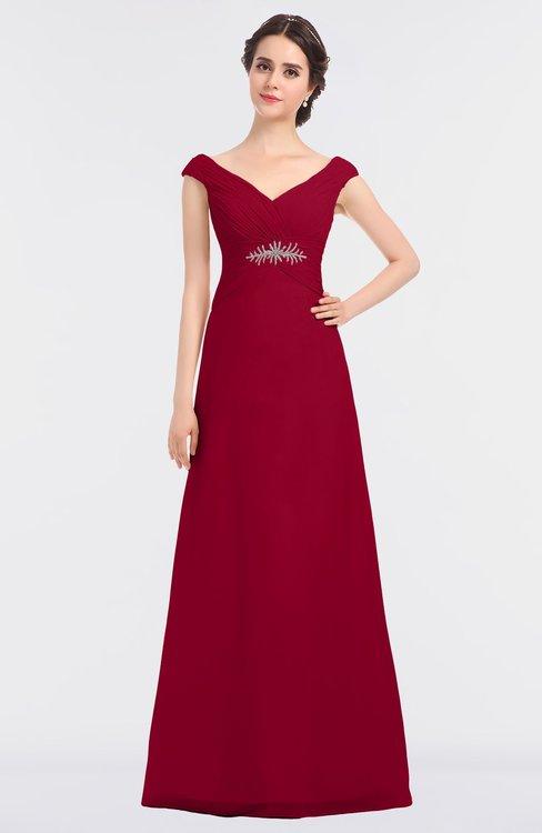 ColsBM Nadia Dark Red Elegant A-line Short Sleeve Zip up Floor Length Beaded Bridesmaid Dresses