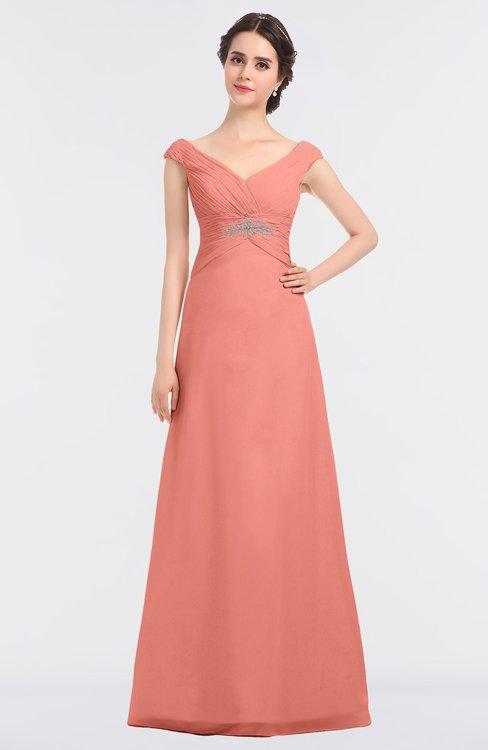 ColsBM Nadia Desert Flower Elegant A-line Short Sleeve Zip up Floor Length Beaded Bridesmaid Dresses