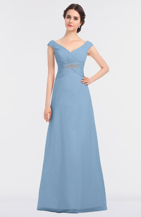 ColsBM Nadia Dusty Blue Elegant A-line Short Sleeve Zip up Floor Length Beaded Bridesmaid Dresses