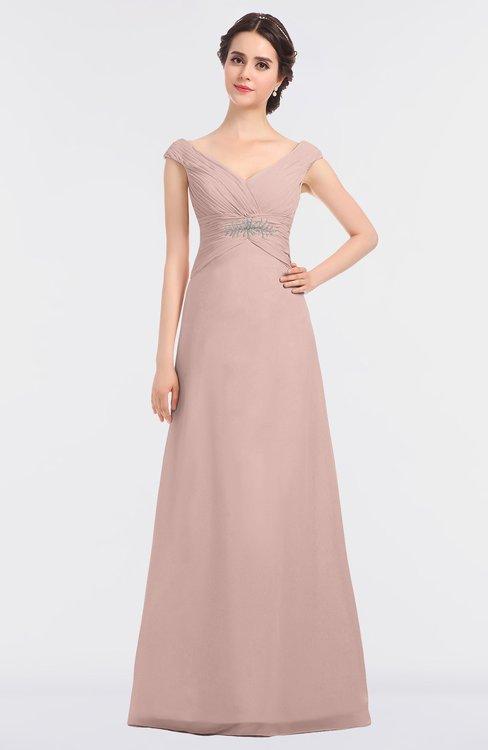 ColsBM Nadia Dusty Rose Elegant A-line Short Sleeve Zip up Floor Length Beaded Bridesmaid Dresses