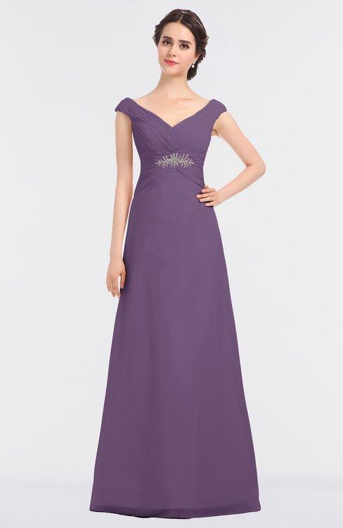 ColsBM Nadia Eggplant Elegant A-line Short Sleeve Zip up Floor Length Beaded Bridesmaid Dresses