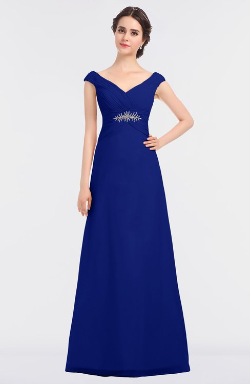 ColsBM Nadia Electric Blue Elegant A-line Short Sleeve Zip up Floor Length Beaded Bridesmaid Dresses