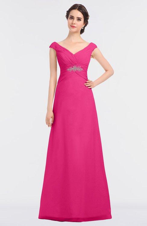 ColsBM Nadia Fandango Pink Elegant A-line Short Sleeve Zip up Floor Length Beaded Bridesmaid Dresses