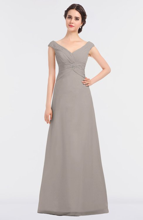 ColsBM Nadia Fawn Elegant A-line Short Sleeve Zip up Floor Length Beaded Bridesmaid Dresses