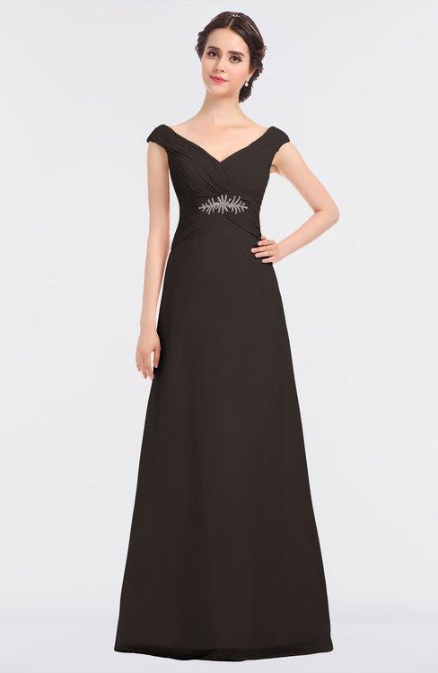 ColsBM Nadia Fudge Brown Elegant A-line Short Sleeve Zip up Floor Length Beaded Bridesmaid Dresses