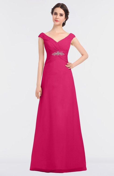 ColsBM Nadia Fuschia Elegant A-line Short Sleeve Zip up Floor Length Beaded Bridesmaid Dresses