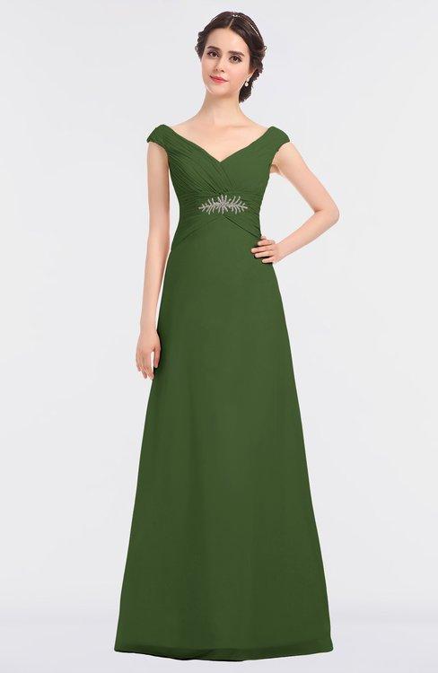ColsBM Nadia Garden Green Elegant A-line Short Sleeve Zip up Floor Length Beaded Bridesmaid Dresses