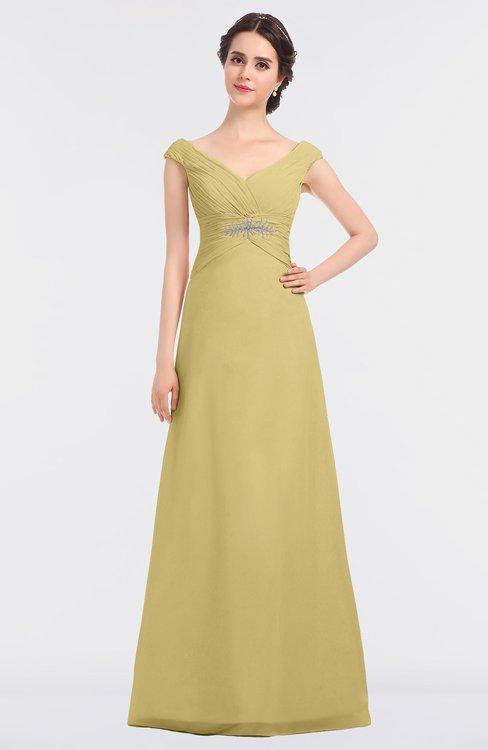 ColsBM Nadia Gold Elegant A-line Short Sleeve Zip up Floor Length Beaded Bridesmaid Dresses