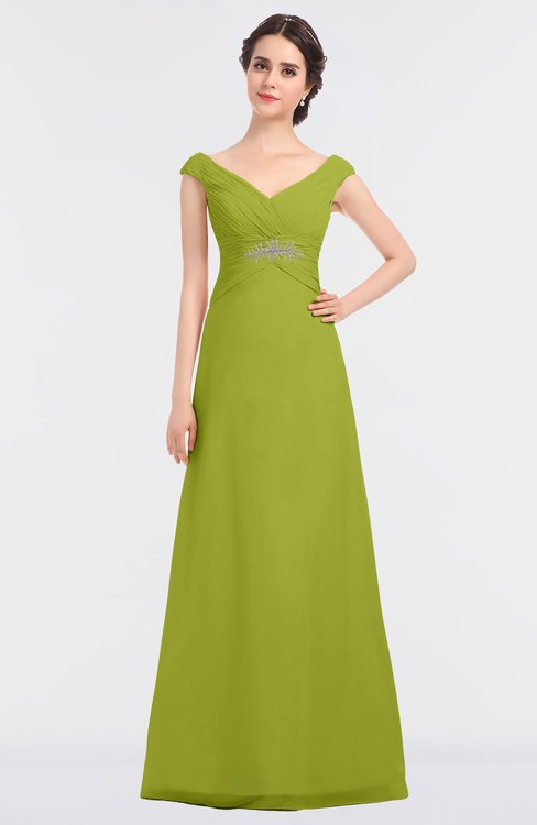 ColsBM Nadia Green Oasis Elegant A-line Short Sleeve Zip up Floor Length Beaded Bridesmaid Dresses