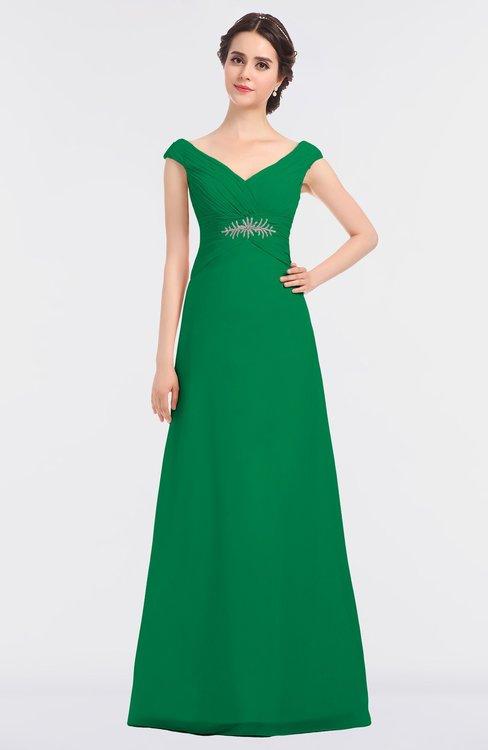 ColsBM Nadia Green Elegant A-line Short Sleeve Zip up Floor Length Beaded Bridesmaid Dresses