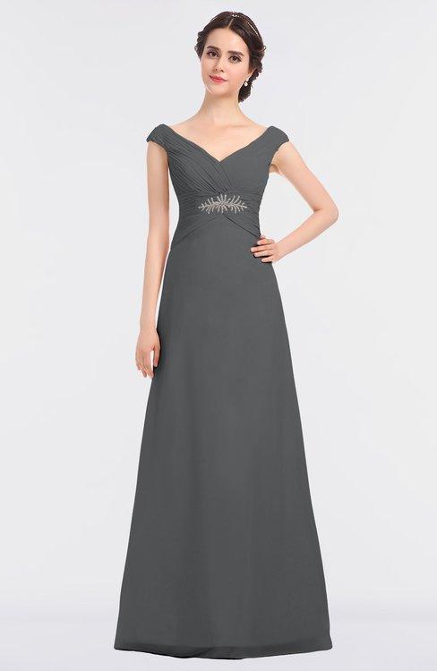 ColsBM Nadia Grey Elegant A-line Short Sleeve Zip up Floor Length Beaded Bridesmaid Dresses