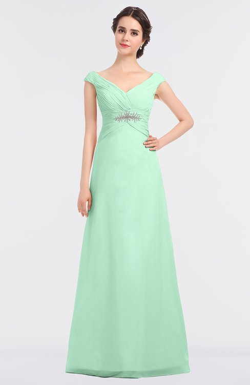 ColsBM Nadia Honeydew Elegant A-line Short Sleeve Zip up Floor Length Beaded Bridesmaid Dresses