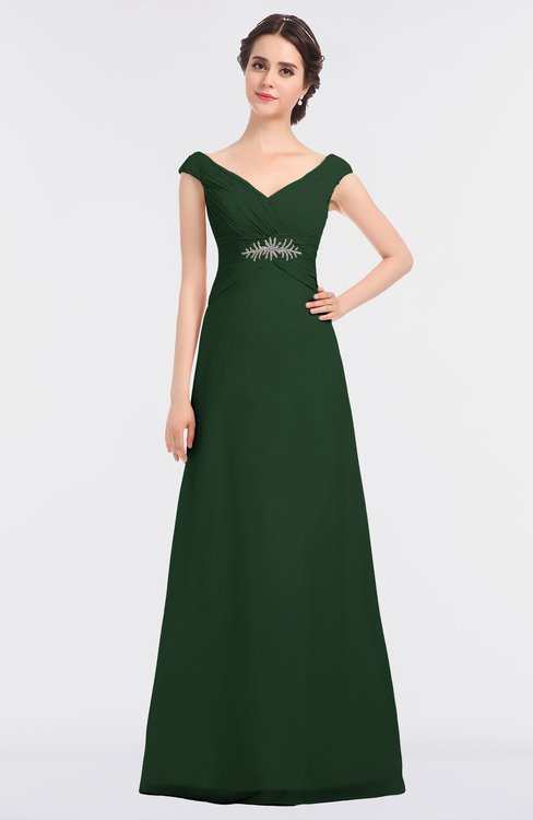 ColsBM Nadia Hunter Green Elegant A-line Short Sleeve Zip up Floor Length Beaded Bridesmaid Dresses