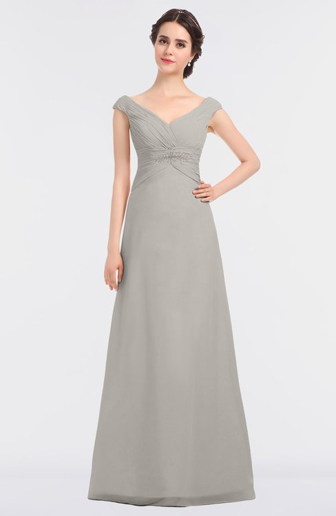 ColsBM Nadia Hushed Violet Elegant A-line Short Sleeve Zip up Floor Length Beaded Bridesmaid Dresses