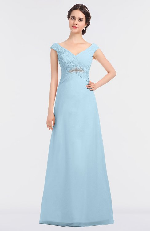 ColsBM Nadia Ice Blue Elegant A-line Short Sleeve Zip up Floor Length Beaded Bridesmaid Dresses