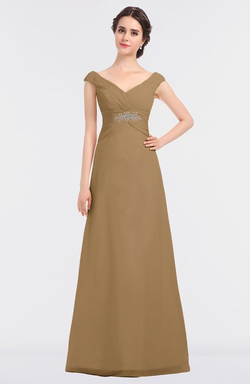 ColsBM Nadia Indian Tan Elegant A-line Short Sleeve Zip up Floor Length Beaded Bridesmaid Dresses