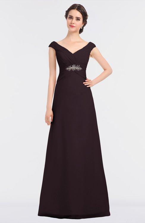 ColsBM Nadia Italian Plum Elegant A-line Short Sleeve Zip up Floor Length Beaded Bridesmaid Dresses