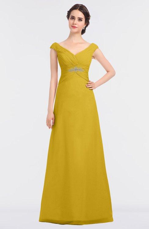 ColsBM Nadia Lemon Curry Elegant A-line Short Sleeve Zip up Floor Length Beaded Bridesmaid Dresses