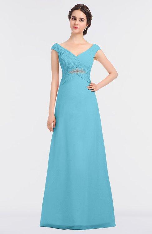 ColsBM Nadia Light Blue Elegant A-line Short Sleeve Zip up Floor Length Beaded Bridesmaid Dresses