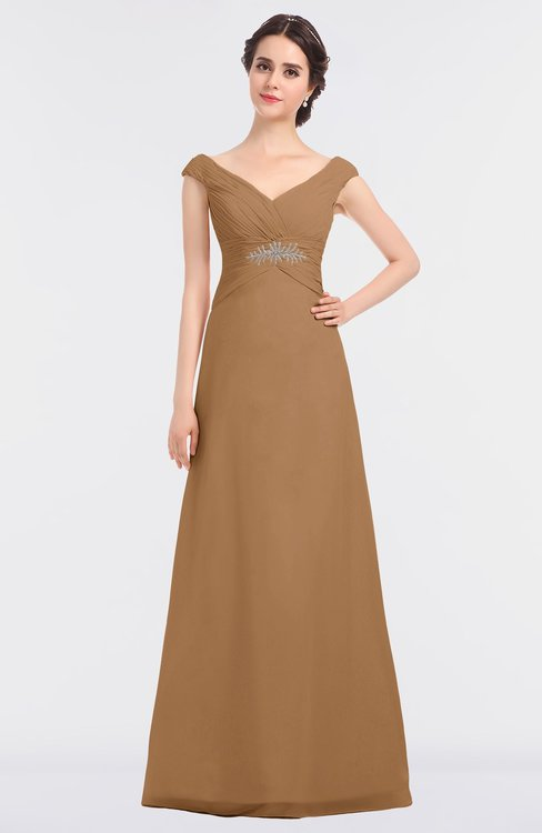 ColsBM Nadia Light Brown Elegant A-line Short Sleeve Zip up Floor Length Beaded Bridesmaid Dresses