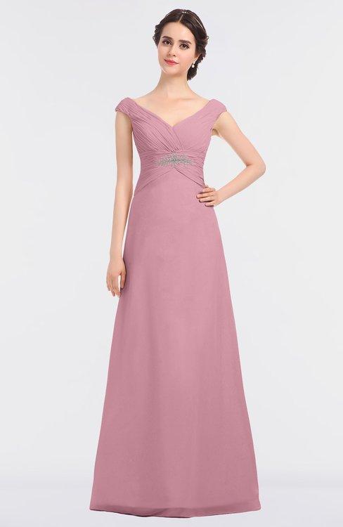 ColsBM Nadia Light Coral Elegant A-line Short Sleeve Zip up Floor Length Beaded Bridesmaid Dresses