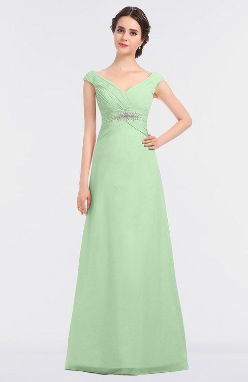 ColsBM Nadia Light Green Elegant A-line Short Sleeve Zip up Floor Length Beaded Bridesmaid Dresses