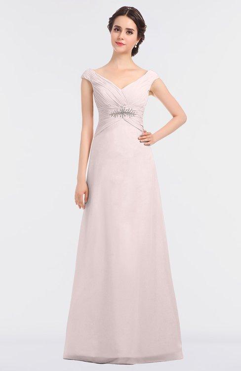 ColsBM Nadia Light Pink Elegant A-line Short Sleeve Zip up Floor Length Beaded Bridesmaid Dresses