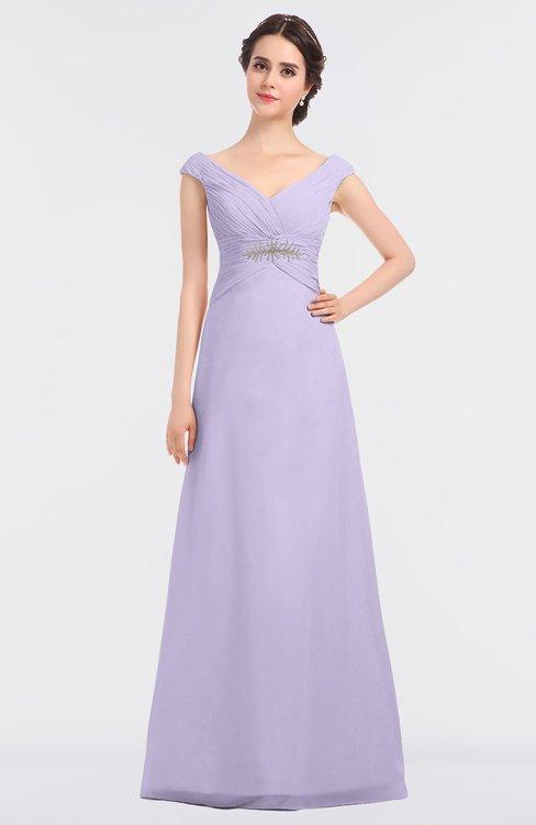 ColsBM Nadia Light Purple Elegant A-line Short Sleeve Zip up Floor Length Beaded Bridesmaid Dresses
