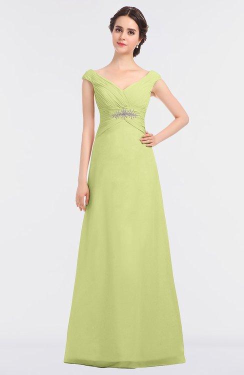 ColsBM Nadia Lime Green Elegant A-line Short Sleeve Zip up Floor Length Beaded Bridesmaid Dresses