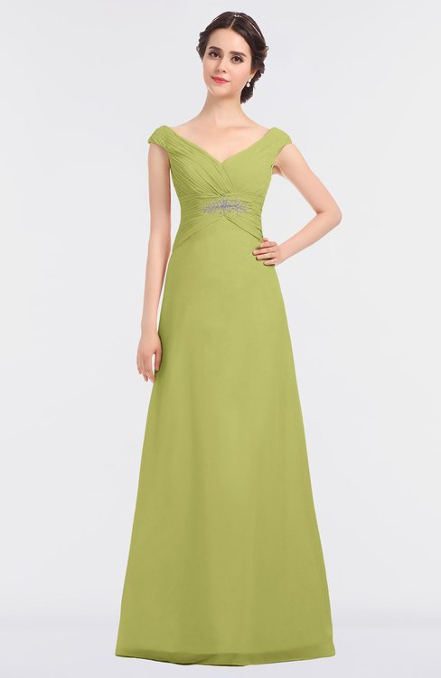 ColsBM Nadia Linden Green Elegant A-line Short Sleeve Zip up Floor Length Beaded Bridesmaid Dresses