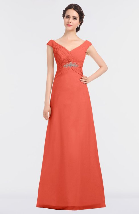 ColsBM Nadia Living Coral Elegant A-line Short Sleeve Zip up Floor Length Beaded Bridesmaid Dresses