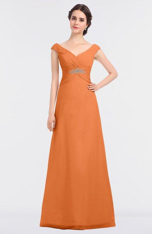 ColsBM Nadia Mango Elegant A-line Short Sleeve Zip up Floor Length Beaded Bridesmaid Dresses