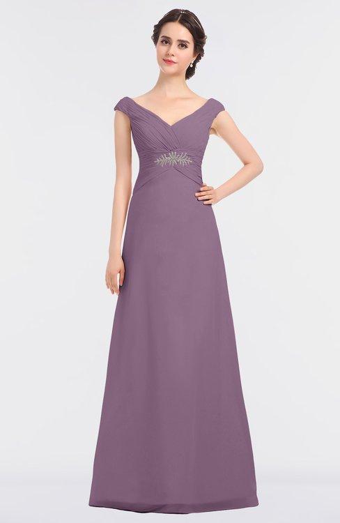 ColsBM Nadia Mauve Elegant A-line Short Sleeve Zip up Floor Length Beaded Bridesmaid Dresses
