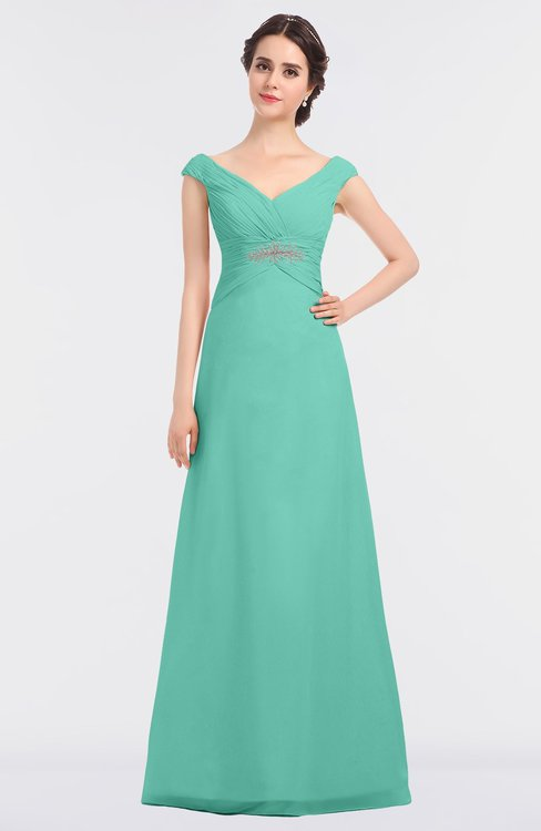 ColsBM Nadia Mint Green Elegant A-line Short Sleeve Zip up Floor Length Beaded Bridesmaid Dresses