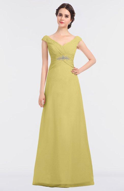 ColsBM Nadia Misted Yellow Elegant A-line Short Sleeve Zip up Floor Length Beaded Bridesmaid Dresses