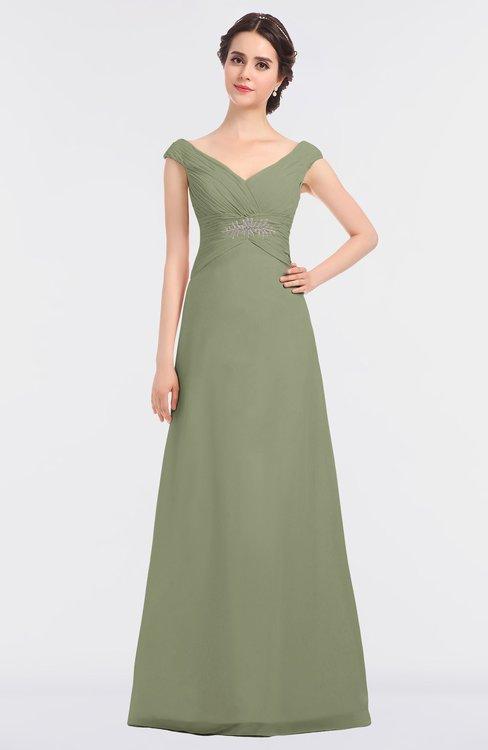 ColsBM Nadia Moss Green Elegant A-line Short Sleeve Zip up Floor Length Beaded Bridesmaid Dresses