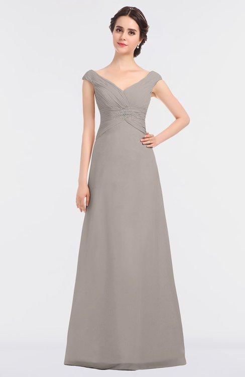 ColsBM Nadia Mushroom Elegant A-line Short Sleeve Zip up Floor Length Beaded Bridesmaid Dresses