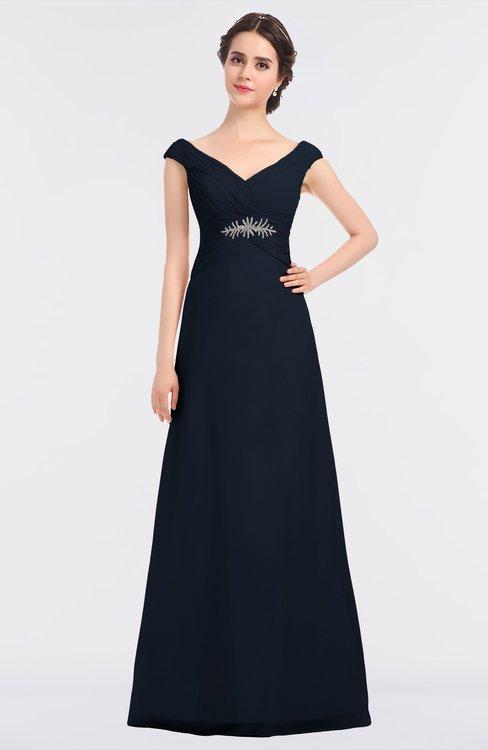 ColsBM Nadia Navy Blue Elegant A-line Short Sleeve Zip up Floor Length Beaded Bridesmaid Dresses
