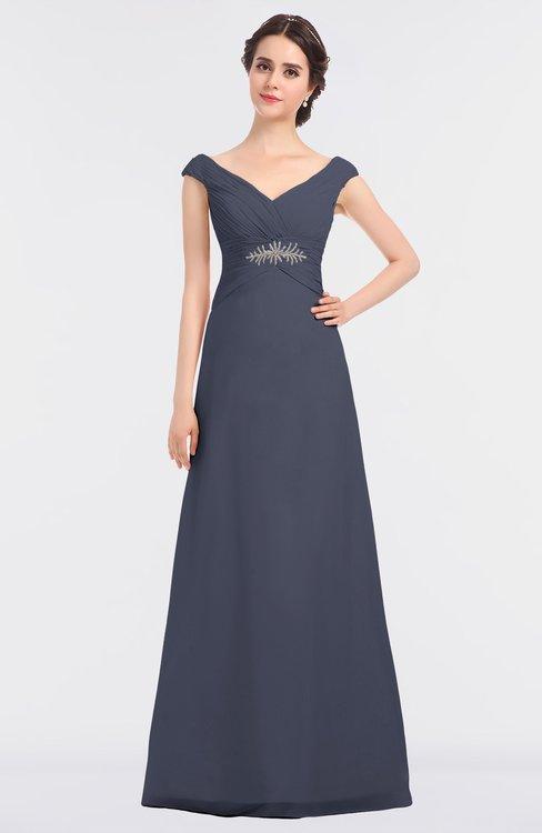 ColsBM Nadia Nightshadow Blue Elegant A-line Short Sleeve Zip up Floor Length Beaded Bridesmaid Dresses