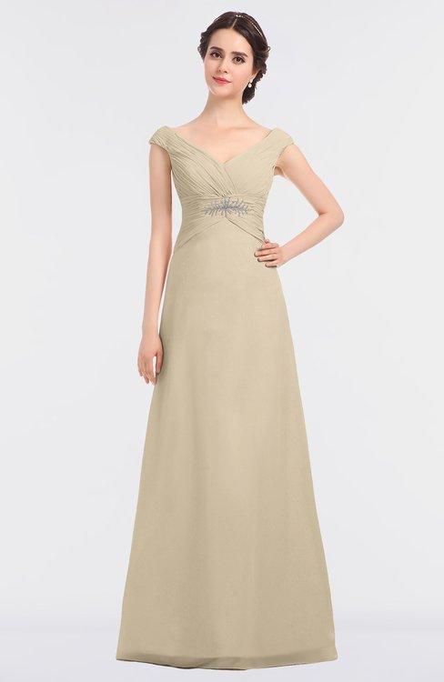 ColsBM Nadia Novelle Peach Elegant A-line Short Sleeve Zip up Floor Length Beaded Bridesmaid Dresses