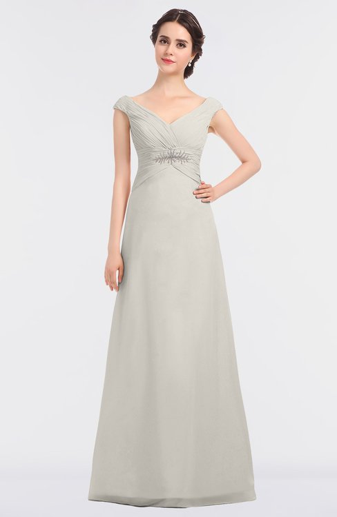 ColsBM Nadia Off White Elegant A-line Short Sleeve Zip up Floor Length Beaded Bridesmaid Dresses