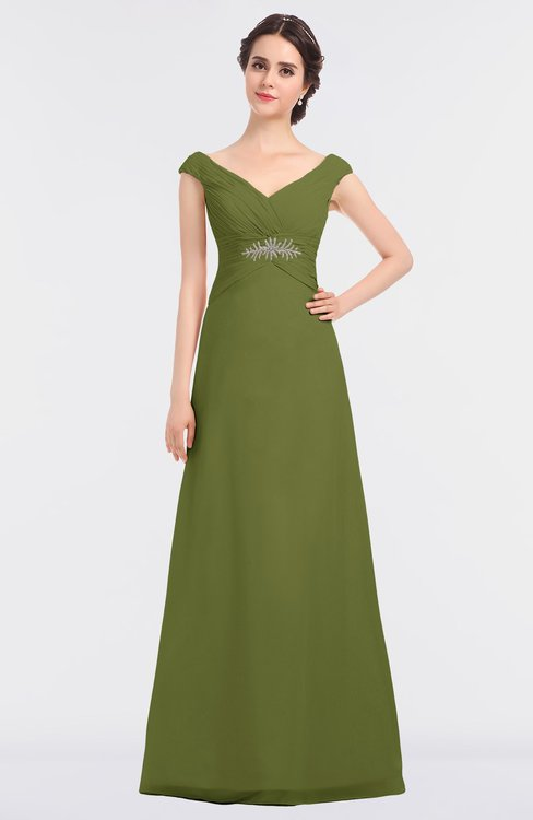 ColsBM Nadia Olive Green Elegant A-line Short Sleeve Zip up Floor Length Beaded Bridesmaid Dresses