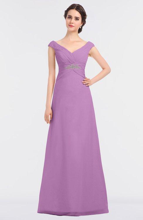 ColsBM Nadia Orchid Elegant A-line Short Sleeve Zip up Floor Length Beaded Bridesmaid Dresses