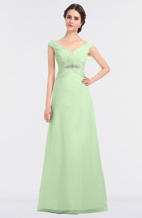 ColsBM Nadia Pale Green Elegant A-line Short Sleeve Zip up Floor Length Beaded Bridesmaid Dresses