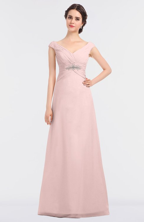 ColsBM Nadia Pastel Pink Elegant A-line Short Sleeve Zip up Floor Length Beaded Bridesmaid Dresses