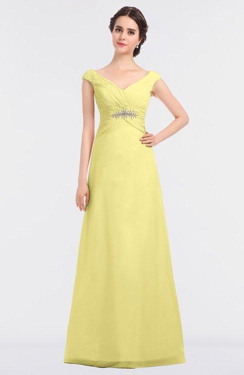 ColsBM Nadia Pastel Yellow Elegant A-line Short Sleeve Zip up Floor Length Beaded Bridesmaid Dresses