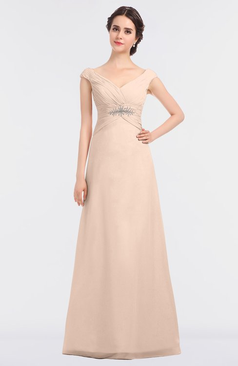 ColsBM Nadia Peach Puree Elegant A-line Short Sleeve Zip up Floor Length Beaded Bridesmaid Dresses
