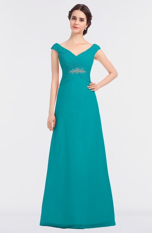 ColsBM Nadia Peacock Blue Elegant A-line Short Sleeve Zip up Floor Length Beaded Bridesmaid Dresses
